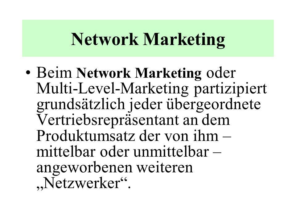 Network-Marketing Illegale Schneeballsysteme sind somit nicht identisch mit Network-Marketing. Network-Marketing hat also eine unterschiedlich organis
