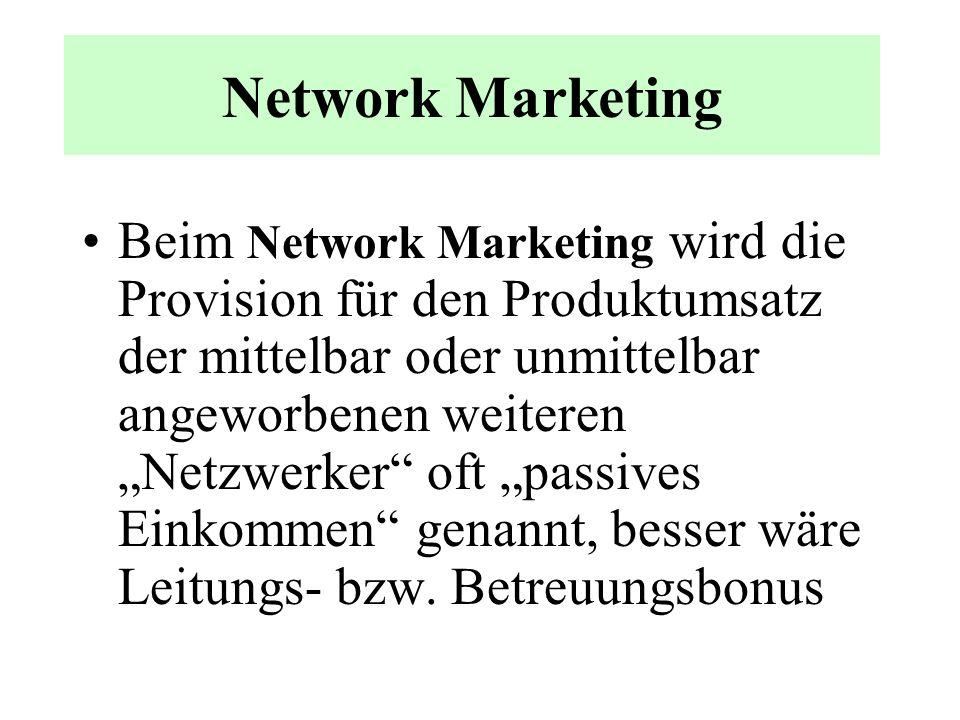 Network Marketing Beim Network Marketing oder Multi-Level-Marketing partizipiert grundsätzlich jeder übergeordnete Vertriebsrepräsentant an dem Produk