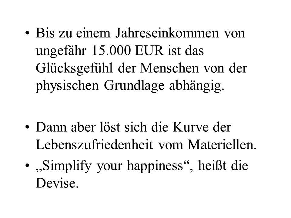 Armut macht in der Tat unglücklich. Aber Reichtum nicht automatisch glücklich!