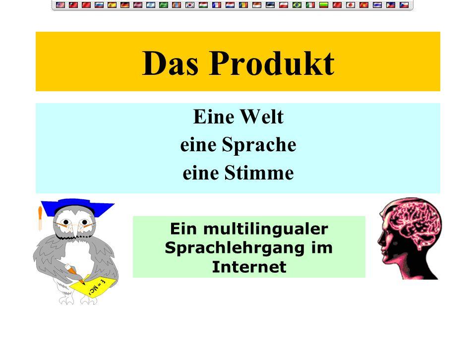 Das Produkt Eine Welt eine Sprache eine Stimme Ein multilingualer Sprachlehrgang im Internet