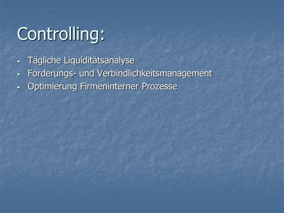 Controlling: Tägliche Liquiditätsanalyse Tägliche Liquiditätsanalyse Forderungs- und Verbindlichkeitsmanagement Forderungs- und Verbindlichkeitsmanage
