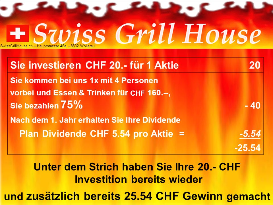 Sie investieren CHF 20.- für 1 Aktie 20 Sie kommen bei uns 1x mit 4 Personen vorbei und Essen & Trinken für CHF 160.--, Sie bezahlen 75% - 40 Nach dem 1.