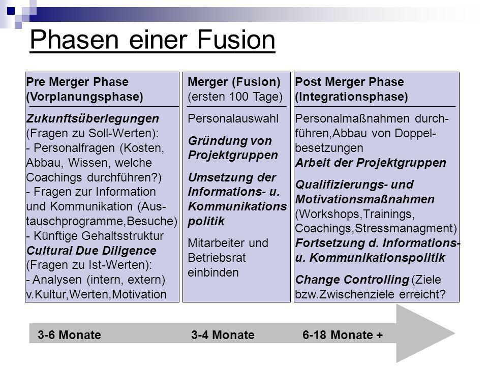 Phasen einer Fusion 3-6 Monate6-18 Monate +3-4 Monate Pre Merger Phase (Vorplanungsphase) Zukunftsüberlegungen (Fragen zu Soll-Werten): - Personalfrag
