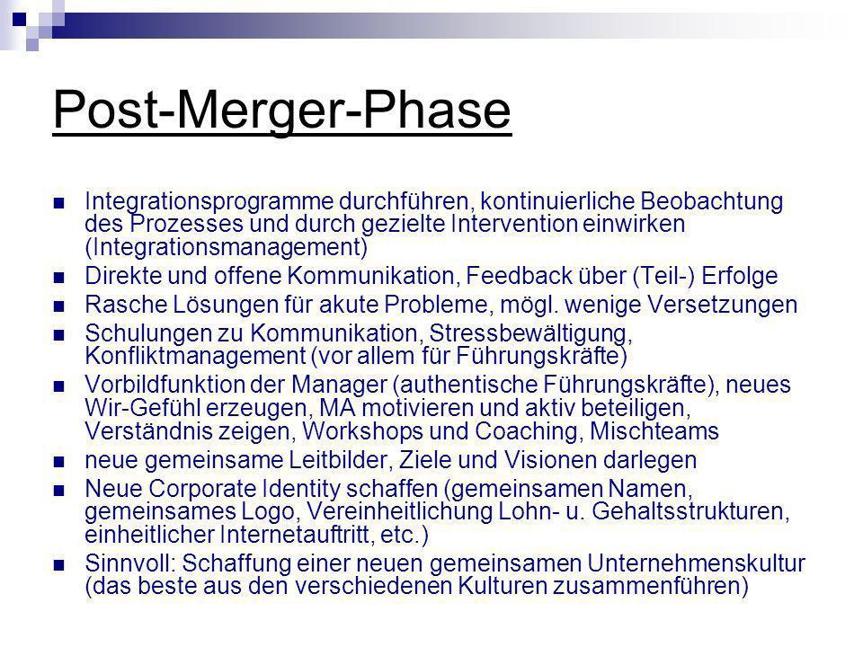 Post-Merger-Phase Integrationsprogramme durchführen, kontinuierliche Beobachtung des Prozesses und durch gezielte Intervention einwirken (Integrations