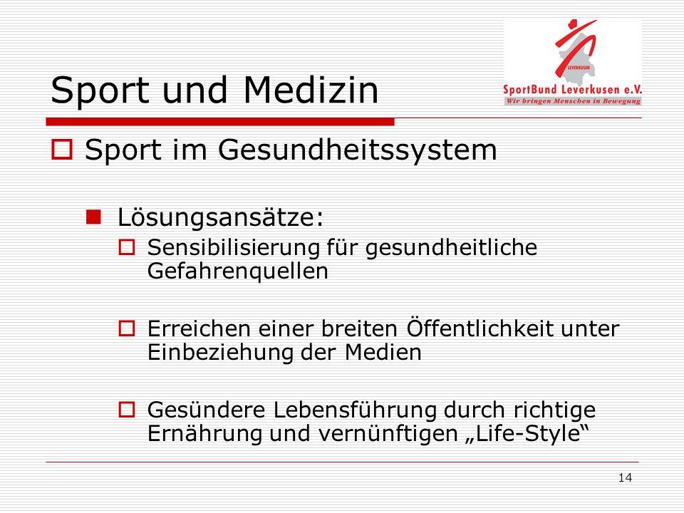 14 Sport und Medizin Sport im Gesundheitssystem Lösungsansätze: Sensibilisierung für gesundheitliche Gefahrenquellen Erreichen einer breiten Öffentlichkeit unter Einbeziehung der Medien Gesündere Lebensführung durch richtige Ernährung und vernünftigen Life-Style