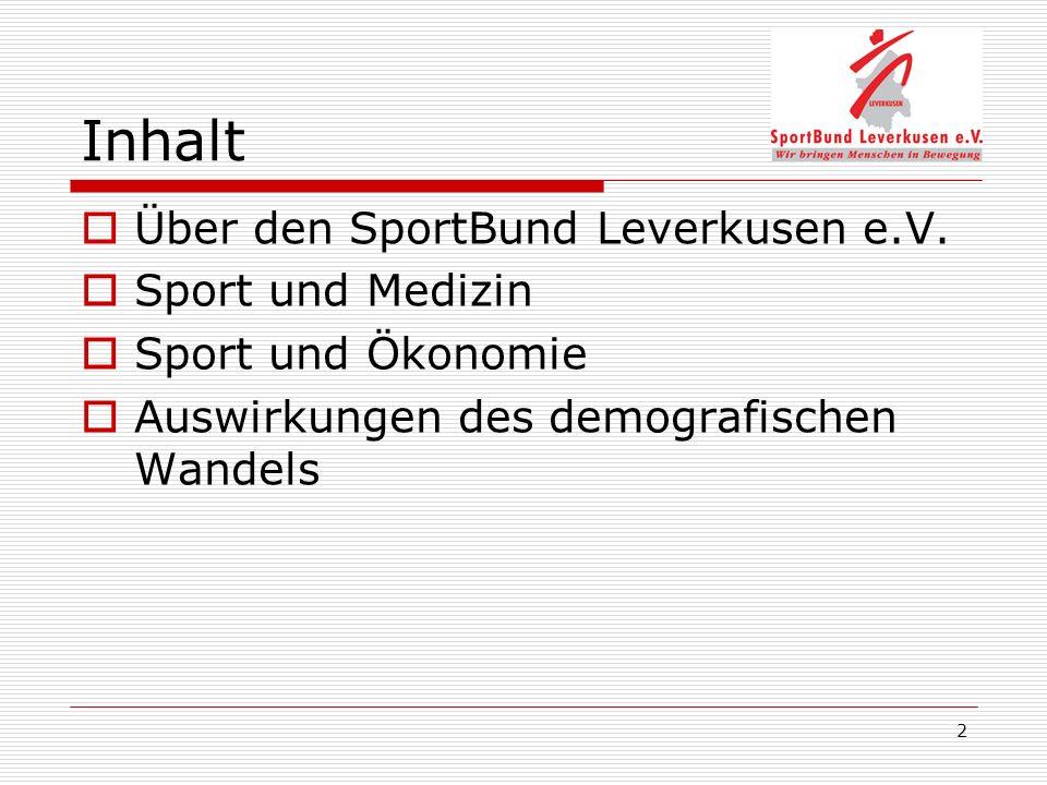 2 Inhalt Über den SportBund Leverkusen e.V. Sport und Medizin Sport und Ökonomie Auswirkungen des demografischen Wandels