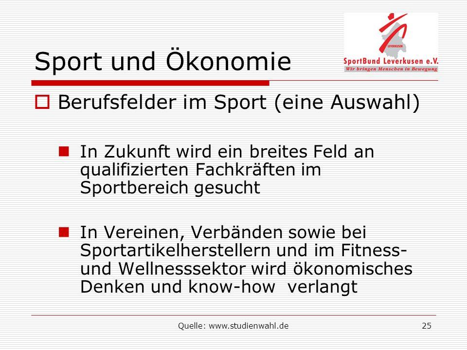 Quelle: www.studienwahl.de25 Sport und Ökonomie Berufsfelder im Sport (eine Auswahl) In Zukunft wird ein breites Feld an qualifizierten Fachkräften im Sportbereich gesucht In Vereinen, Verbänden sowie bei Sportartikelherstellern und im Fitness- und Wellnesssektor wird ökonomisches Denken und know-how verlangt