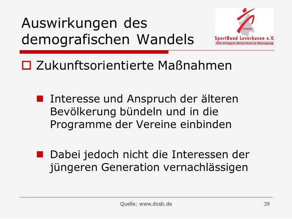 Quelle: www.dosb.de39 Auswirkungen des demografischen Wandels Zukunftsorientierte Maßnahmen Interesse und Anspruch der älteren Bevölkerung bündeln und