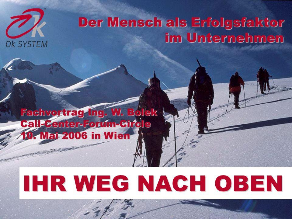 IHR WEG NACH OBEN Der Mensch als Erfolgsfaktor im Unternehmen Fachvortrag Ing. W. Bolek Call-Center-Forum-Circle 10. Mai 2006 in Wien