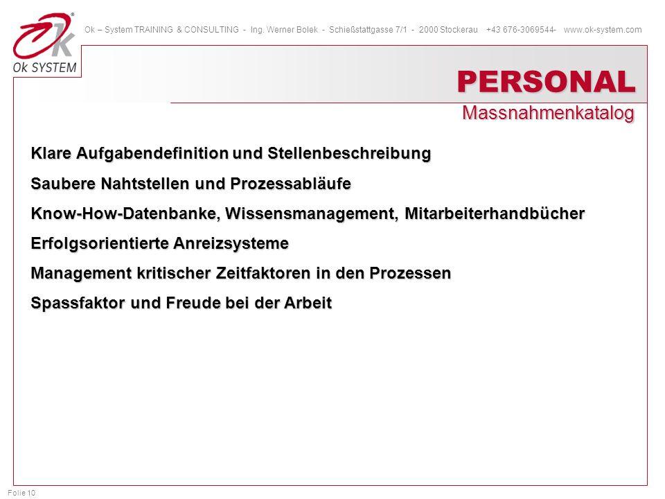 Folie 10 Ok – System TRAINING & CONSULTING - Ing. Werner Bolek - Schießstattgasse 7/1 - 2000 Stockerau +43 676-3069544- www.ok-system.com PERSONAL Mas
