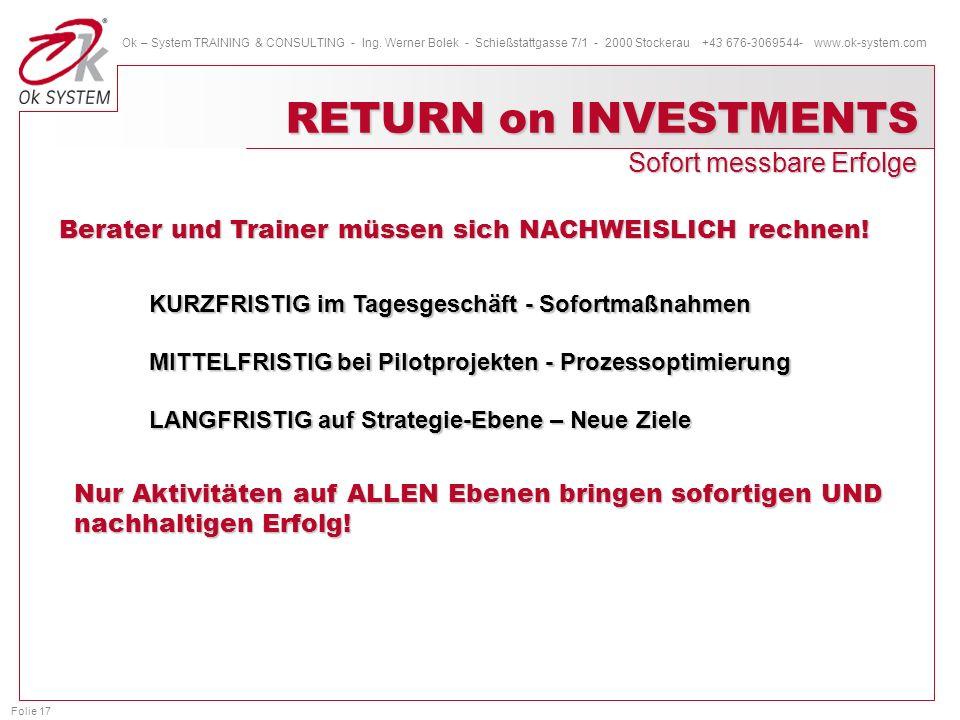 Folie 17 Ok – System TRAINING & CONSULTING - Ing. Werner Bolek - Schießstattgasse 7/1 - 2000 Stockerau +43 676-3069544- www.ok-system.com RETURN on IN