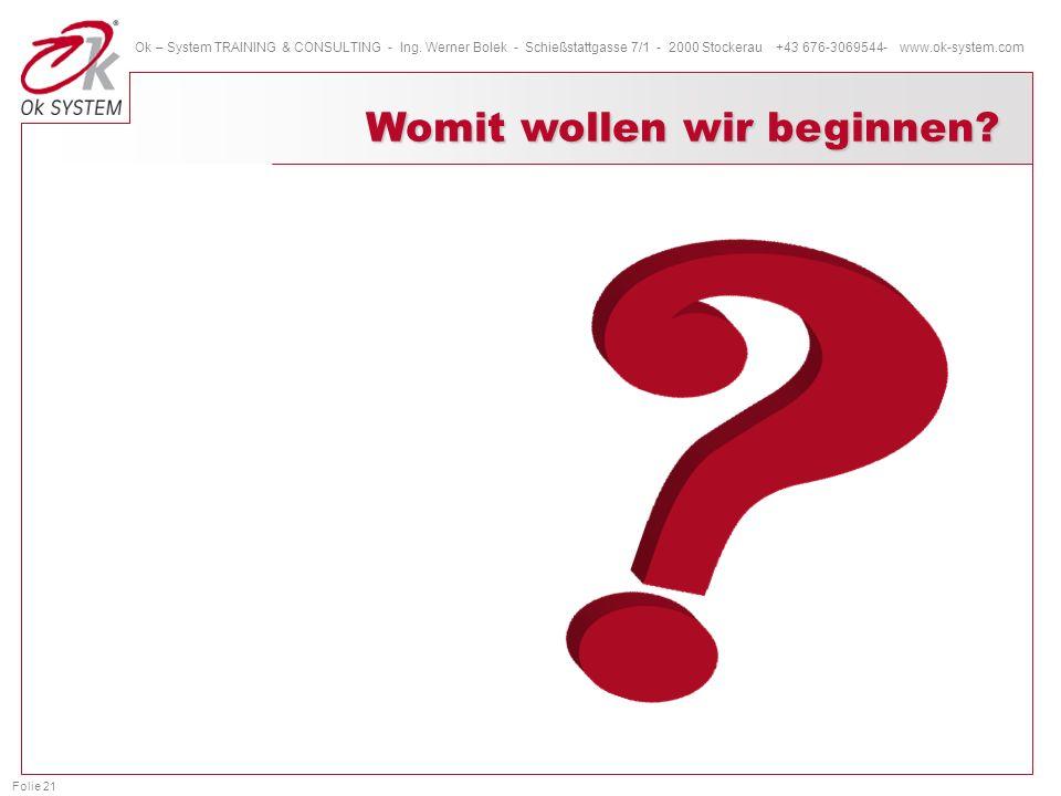Folie 21 Ok – System TRAINING & CONSULTING - Ing. Werner Bolek - Schießstattgasse 7/1 - 2000 Stockerau +43 676-3069544- www.ok-system.com Womit wollen