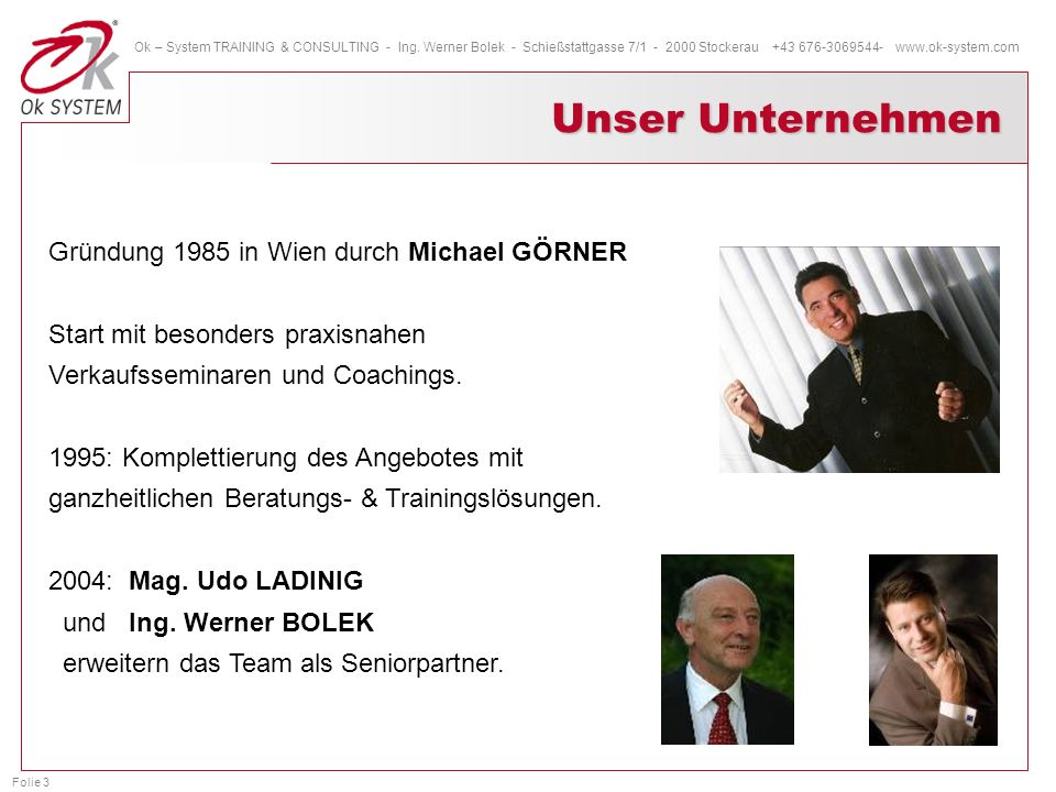 Folie 3 Ok – System TRAINING & CONSULTING - Ing. Werner Bolek - Schießstattgasse 7/1 - 2000 Stockerau +43 676-3069544- www.ok-system.com Gründung 1985
