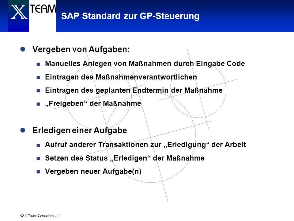 X-Team Consulting / 11 SAP Standard zur GP-Steuerung Vergeben von Aufgaben: Manuelles Anlegen von Maßnahmen durch Eingabe Code Eintragen des Maßnahmen