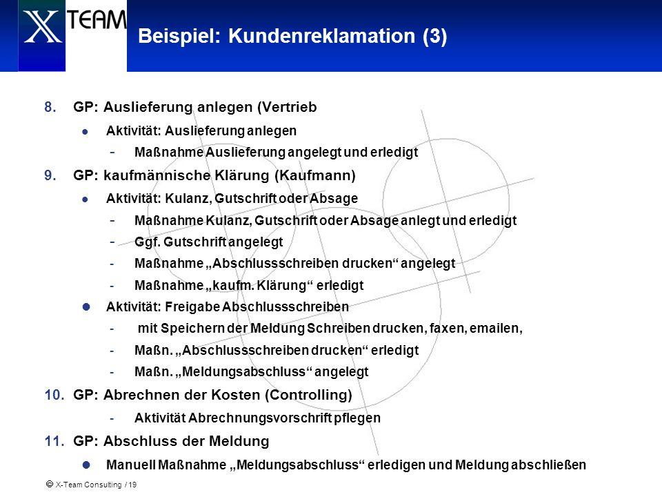 X-Team Consulting / 19 Beispiel: Kundenreklamation (3) 8.GP: Auslieferung anlegen (Vertrieb Aktivität: Auslieferung anlegen - Maßnahme Auslieferung an