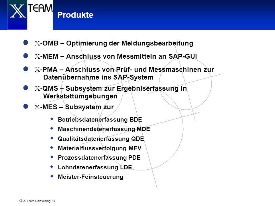 X-Team Consulting / 4 Produkte X -OMB – Optimierung der Meldungsbearbeitung X -MEM – Anschluss von Messmitteln an SAP-GUI X -PMA – Anschluss von Prüf-