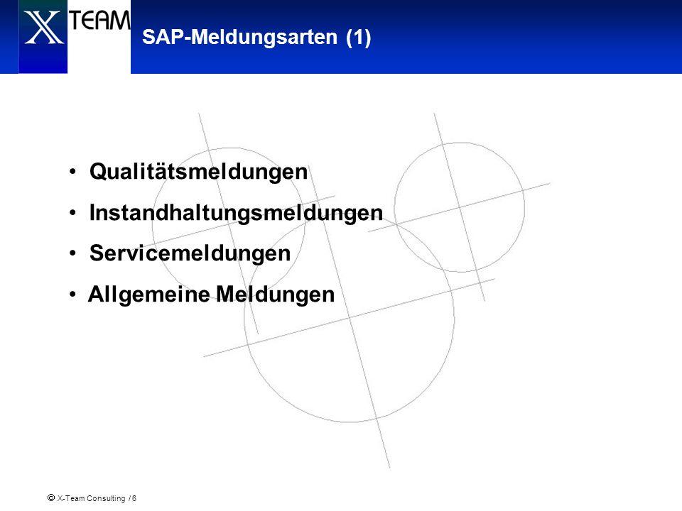 X-Team Consulting / 6 SAP-Meldungsarten (1) Qualitätsmeldungen Instandhaltungsmeldungen Servicemeldungen Allgemeine Meldungen