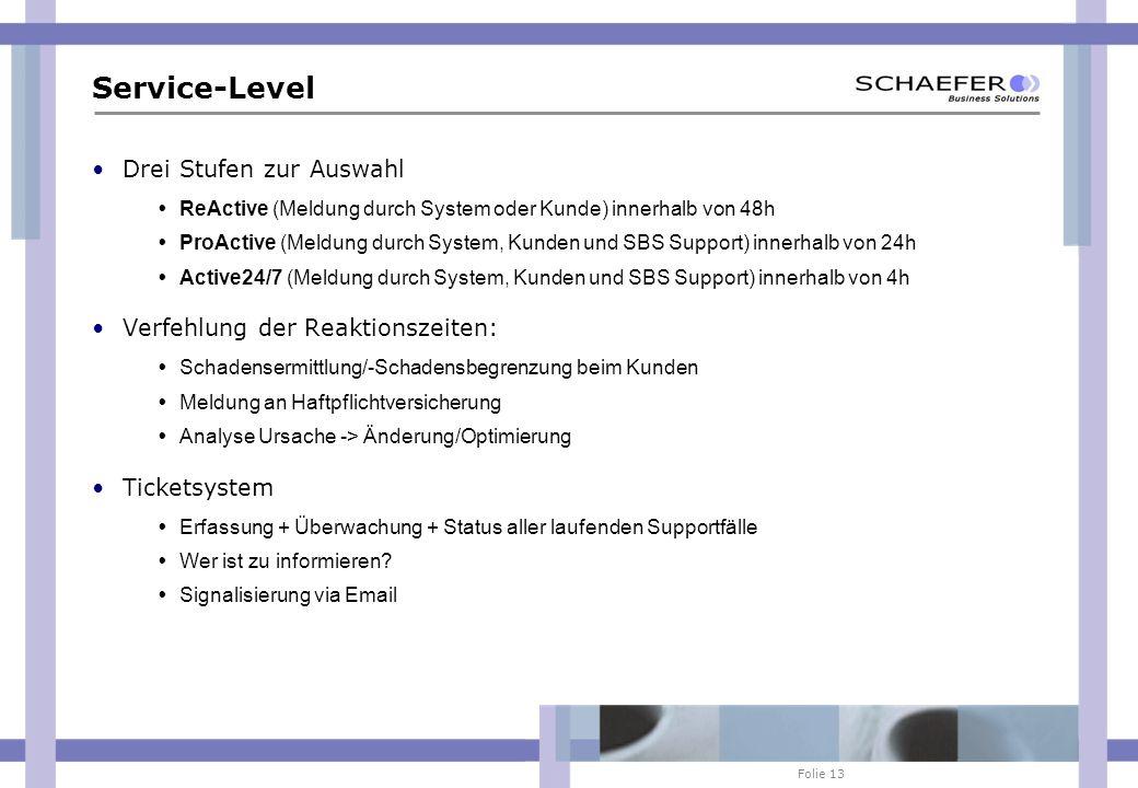 Folie 13 Service-Level Drei Stufen zur Auswahl ReActive (Meldung durch System oder Kunde) innerhalb von 48h ProActive (Meldung durch System, Kunden un