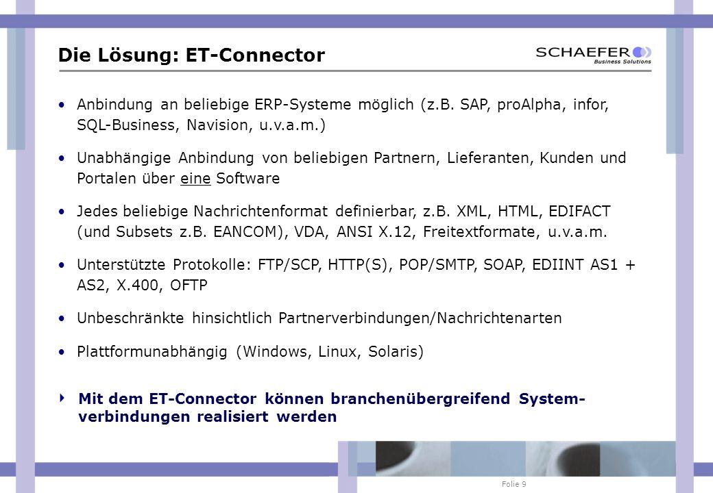 Folie 9 Die Lösung: ET-Connector Anbindung an beliebige ERP-Systeme möglich (z.B. SAP, proAlpha, infor, SQL-Business, Navision, u.v.a.m.) Unabhängige
