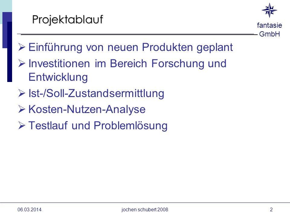 06.03.2014jochen schubert 2008 Projektablauf Einführung von neuen Produkten geplant Investitionen im Bereich Forschung und Entwicklung Ist-/Soll-Zusta