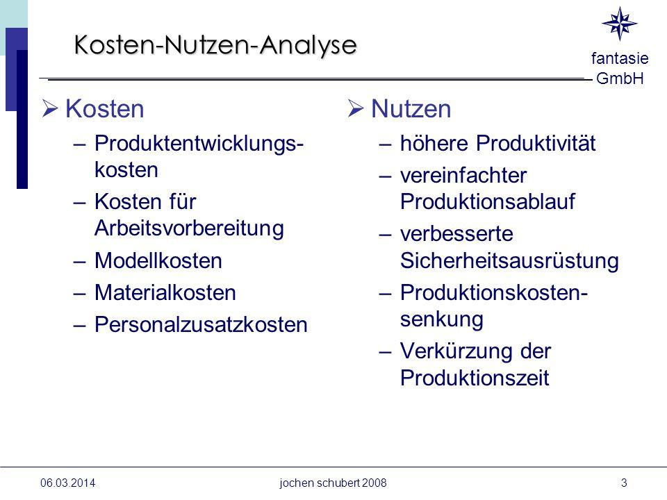 fantasie GmbH 06.03.2014jochen schubert 2008 Kosten-Nutzen-Analyse Kosten –Produktentwicklungs- kosten –Kosten für Arbeitsvorbereitung –Modellkosten –