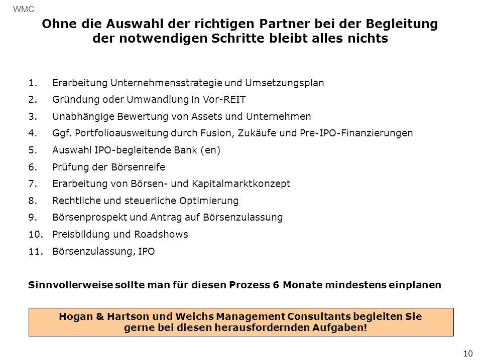 Ohne die Auswahl der richtigen Partner bei der Begleitung der notwendigen Schritte bleibt alles nichts WMC 10 1.Erarbeitung Unternehmensstrategie und Umsetzungsplan 2.Gründung oder Umwandlung in Vor-REIT 3.Unabhängige Bewertung von Assets und Unternehmen 4.Ggf.