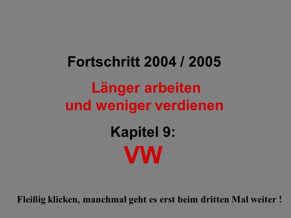 Fortschritt 2004 / 2005 Länger arbeiten und weniger verdienen Kapitel 9: VW Fleißig klicken, manchmal geht es erst beim dritten Mal weiter !