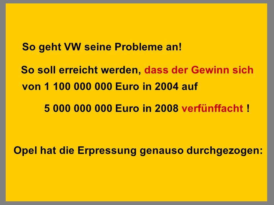 So geht VW seine Probleme an! So soll erreicht werden, dass der Gewinn sich von 1 100 000 000 Euro in 2004 auf 5 000 000 000 Euro in 2008 verfünffacht