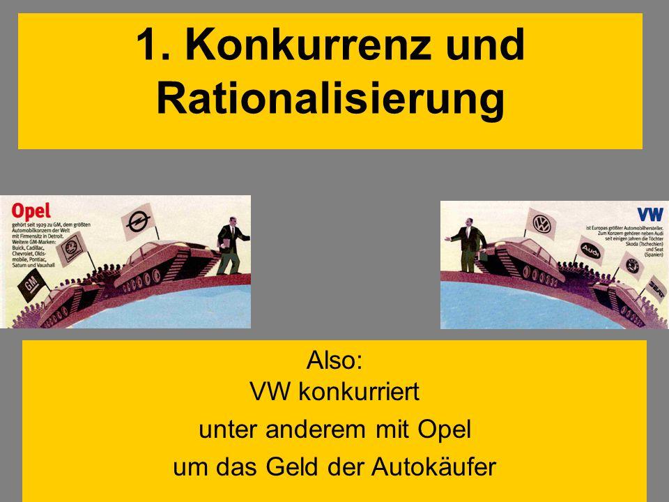 Also: VW konkurriert unter anderem mit Opel um das Geld der Autokäufer 1. Konkurrenz und Rationalisierung