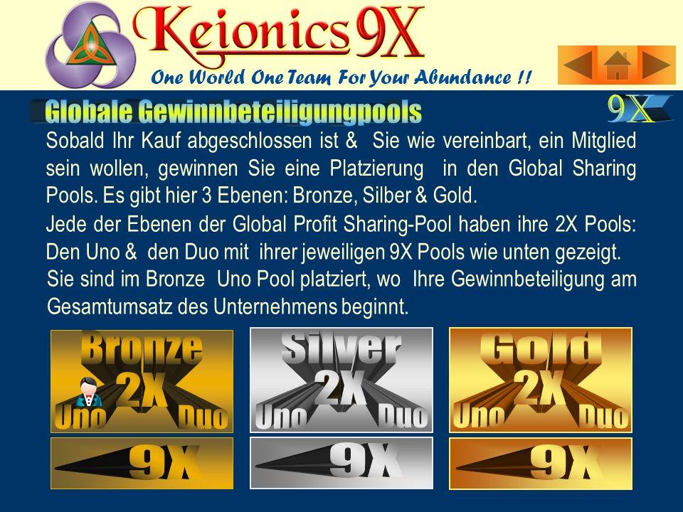 Jede der Ebenen der Global Profit Sharing-Pool haben ihre 2X Pools: Den Uno & den Duo mit ihrer jeweiligen 9X Pools wie unten gezeigt.
