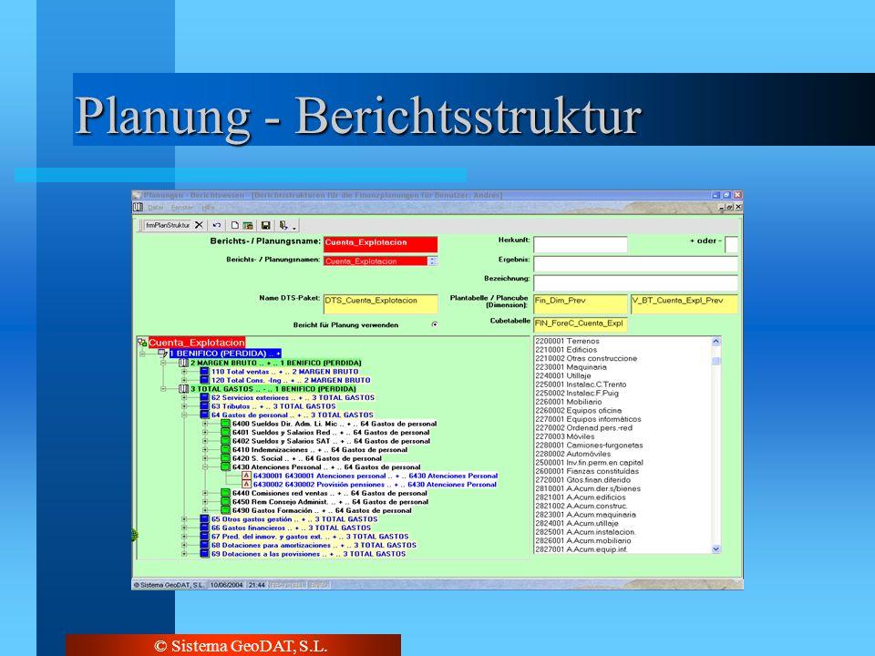 © Sistema GeoDAT, S.L. Planung - Berichtsstruktur