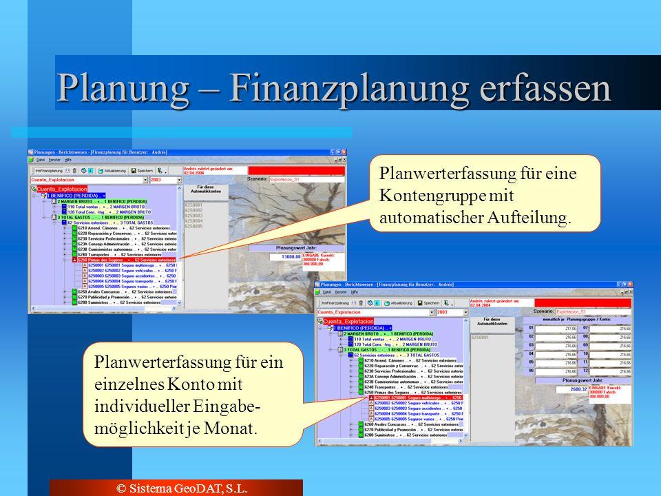 © Sistema GeoDAT, S.L. Planung – Finanzplanung erfassen Planwerterfassung für eine Kontengruppe mit automatischer Aufteilung. Planwerterfassung für ei