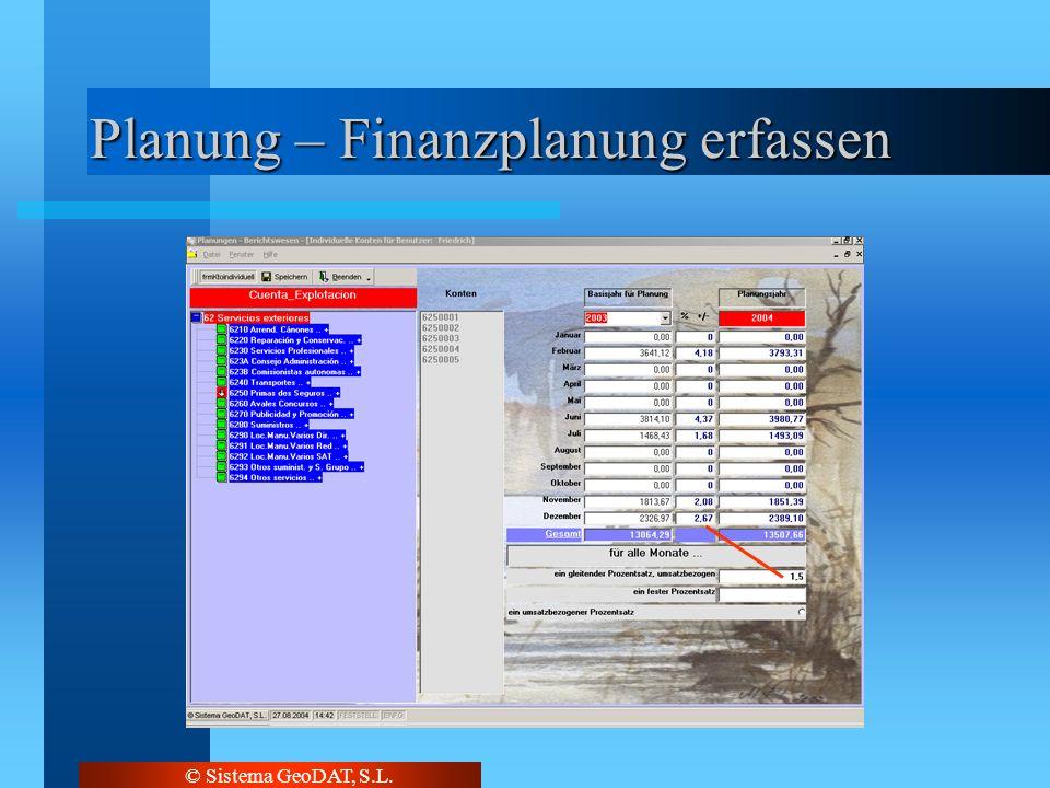 © Sistema GeoDAT, S.L. Planung – Finanzplanung erfassen