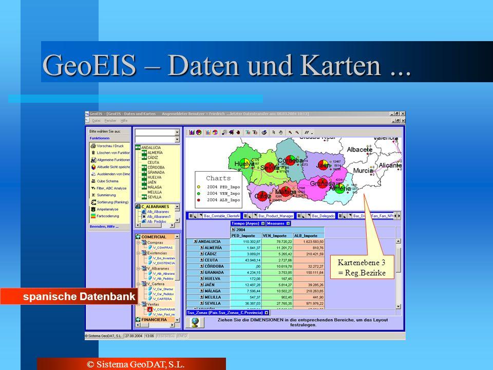 © Sistema GeoDAT, S.L. GeoEIS – Daten und Karten... Kartenebene 1 = Spanien Kartenebene 2 = vergl. mit Bundesländer Kartenebene 3 = Reg.Bezirke spanis