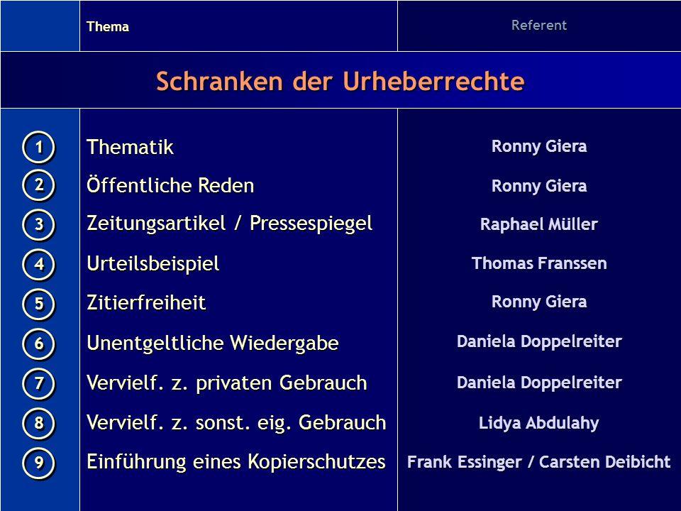 Vervielf. z. sonst. eig. Gebrauch Einführung eines Kopierschutzes Referent Ronny Giera Raphael Müller Thomas Franssen Ronny Giera Daniela Doppelreiter