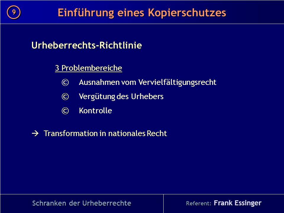 Referent: Frank Essinger Einführung eines Kopierschutzes Schranken der Urheberrechte Urheberrechts-Richtlinie 3 Problembereiche © Ausnahmen vom Vervie