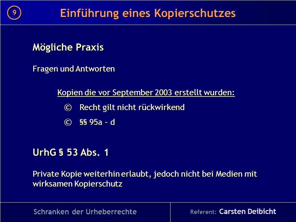 Referent: Carsten Deibicht Einführung eines Kopierschutzes Schranken der Urheberrechte Mögliche Praxis Fragen und Antworten Kopien die vor September 2
