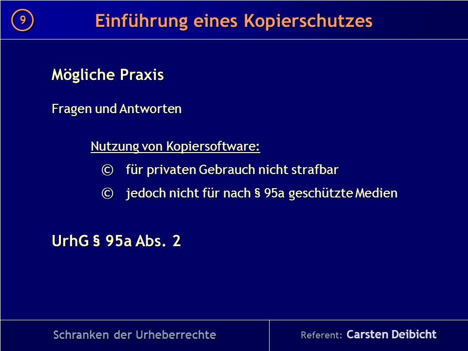 Referent: Carsten Deibicht Einführung eines Kopierschutzes Schranken der Urheberrechte Mögliche Praxis Fragen und Antworten Nutzung von Kopiersoftware