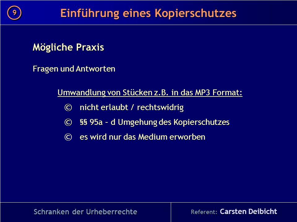 Referent: Carsten Deibicht Einführung eines Kopierschutzes Schranken der Urheberrechte Mögliche Praxis Fragen und Antworten Umwandlung von Stücken z.B