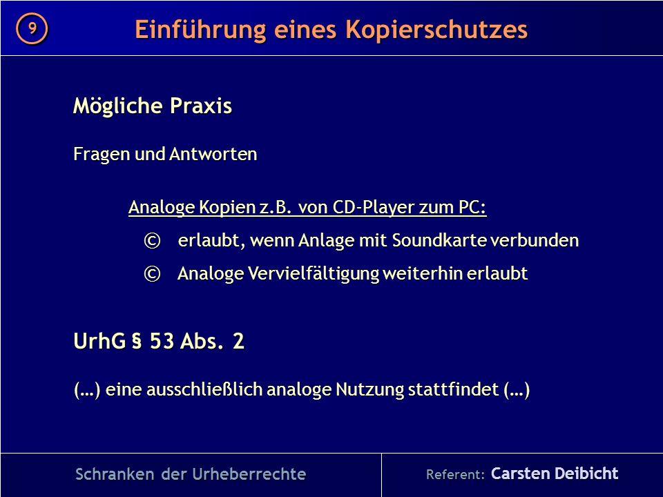 Referent: Carsten Deibicht Einführung eines Kopierschutzes Schranken der Urheberrechte Mögliche Praxis Fragen und Antworten Analoge Kopien z.B. von CD