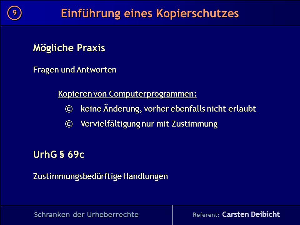 Referent: Carsten Deibicht Einführung eines Kopierschutzes Schranken der Urheberrechte Mögliche Praxis Fragen und Antworten Kopieren von Computerprogr