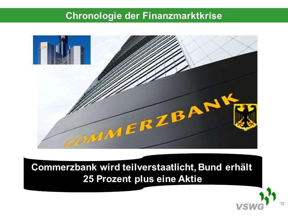 10 Commerzbank wird teilverstaatlicht, Bund erhält 25 Prozent plus eine Aktie Chronologie der Finanzmarktkrise