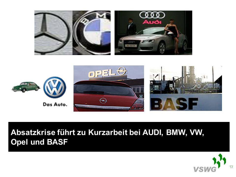 13 Absatzkrise führt zu Kurzarbeit bei AUDI, BMW, VW, Opel und BASF