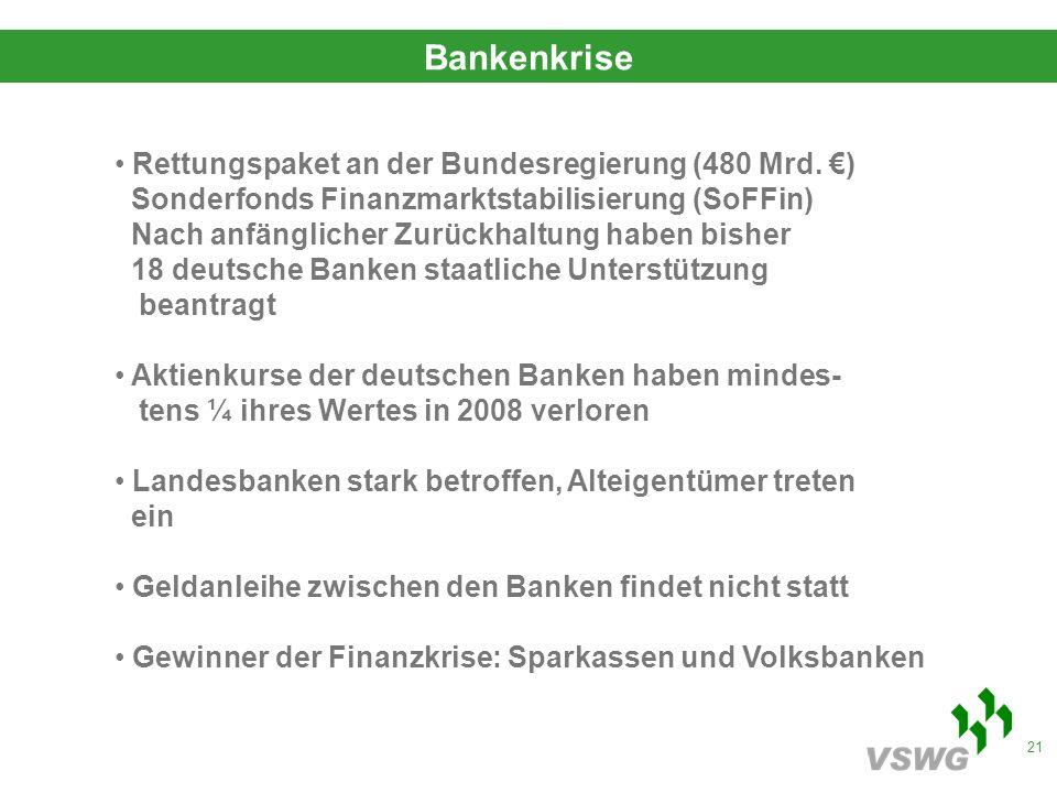 21 Bankenkrise Rettungspaket an der Bundesregierung (480 Mrd.