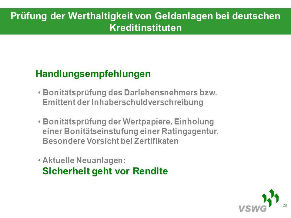 29 Prüfung der Werthaltigkeit von Geldanlagen bei deutschen Kreditinstituten Handlungsempfehlungen Bonitätsprüfung des Darlehensnehmers bzw.