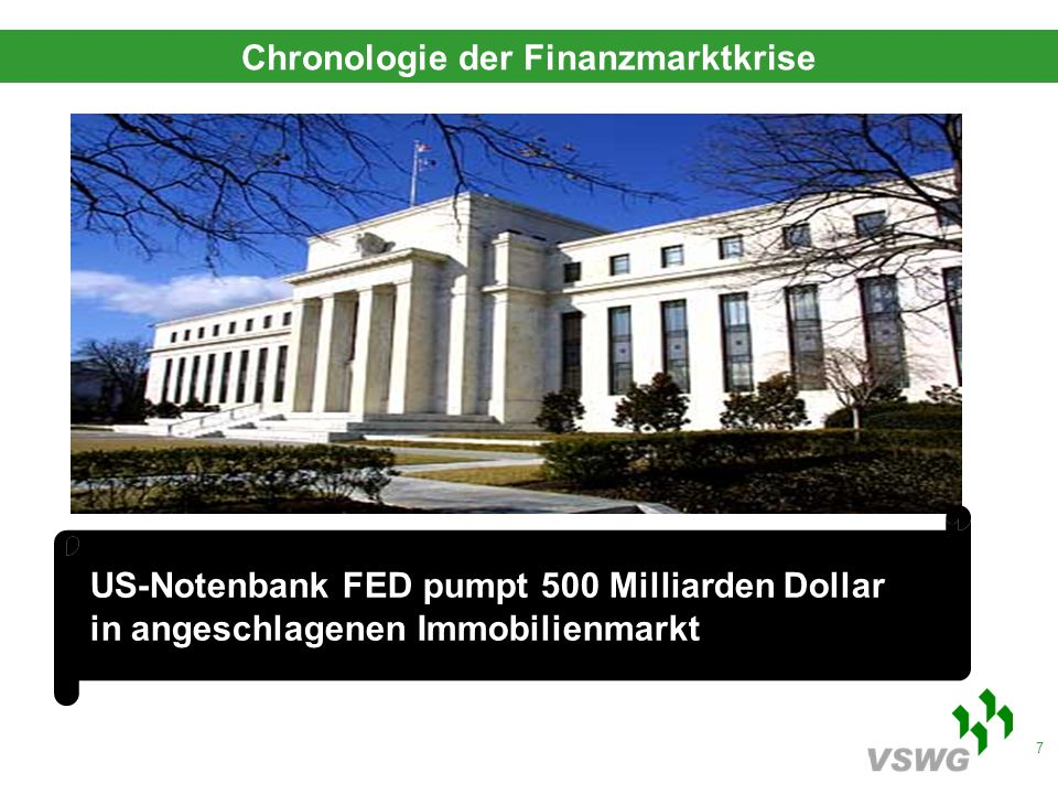 7 US-Notenbank FED pumpt 500 Milliarden Dollar in angeschlagenen Immobilienmarkt Chronologie der Finanzmarktkrise