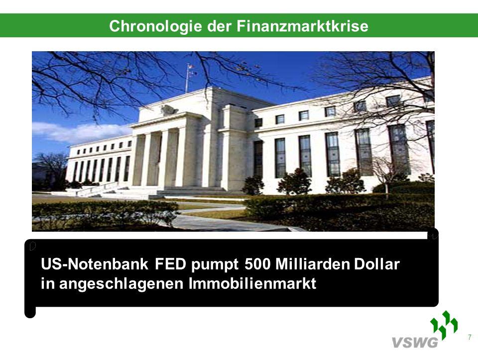 8 CDU und SPD wollen 2009/2010 zusätzlich bis zu 50 Mil- liarden Euro in Bekämpfung der Wirtschaftskrise investieren Chronologie der Finanzmarktkrise