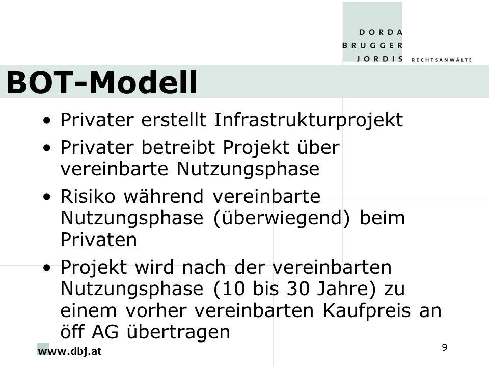 www.dbj.at 9 BOT-Modell Privater erstellt Infrastrukturprojekt Privater betreibt Projekt über vereinbarte Nutzungsphase Risiko während vereinbarte Nutzungsphase (überwiegend) beim Privaten Projekt wird nach der vereinbarten Nutzungsphase (10 bis 30 Jahre) zu einem vorher vereinbarten Kaufpreis an öff AG übertragen