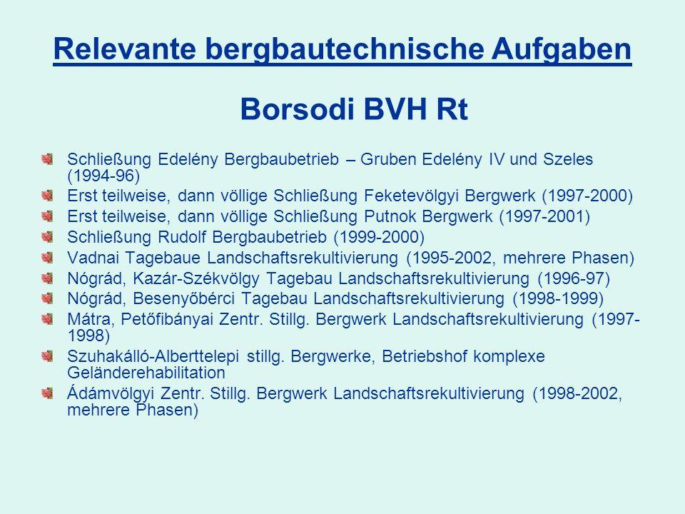 Schließung Edelény Bergbaubetrieb – Gruben Edelény IV und Szeles (1994-96) Erst teilweise, dann völlige Schließung Feketevölgyi Bergwerk (1997-2000) Erst teilweise, dann völlige Schließung Putnok Bergwerk (1997-2001) Schließung Rudolf Bergbaubetrieb (1999-2000) Vadnai Tagebaue Landschaftsrekultivierung (1995-2002, mehrere Phasen) Nógrád, Kazár-Székvölgy Tagebau Landschaftsrekultivierung (1996-97) Nógrád, Besenyőbérci Tagebau Landschaftsrekultivierung (1998-1999) Mátra, Petőfibányai Zentr.