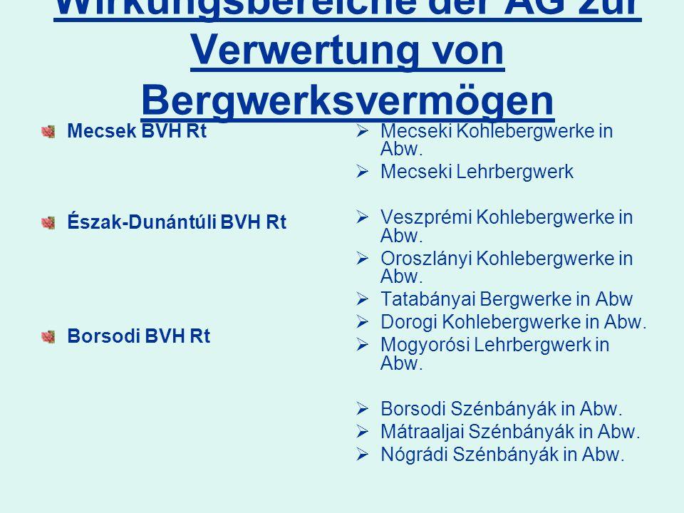 Wirkungsbereiche der AG zur Verwertung von Bergwerksvermögen Mecsek BVH Rt Észak-Dunántúli BVH Rt Borsodi BVH Rt Mecseki Kohlebergwerke in Abw. Mecsek